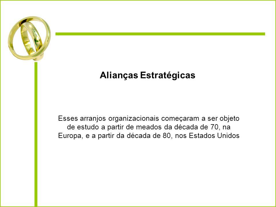 Alianças Estratégicas Esses arranjos organizacionais começaram a ser objeto de estudo a partir de meados da década de 70, na Europa, e a partir da déc