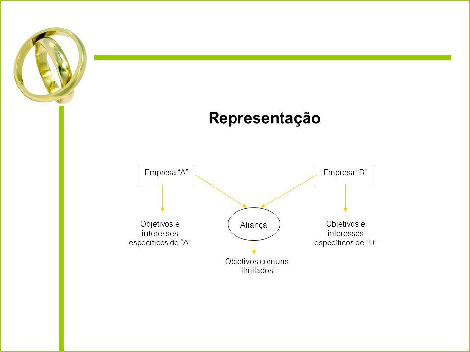 Representação Empresa AEmpresa B AliançaObjetivos e interesses específicos de A Objetivos e interesses específicos de B Objetivos comuns limitados Ali
