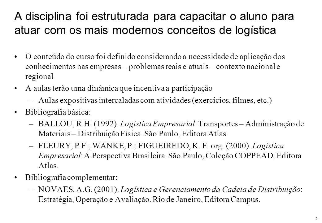 1 A disciplina foi estruturada para capacitar o aluno para atuar com os mais modernos conceitos de logística O conteúdo do curso foi definido consider