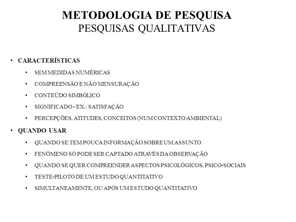 METODOLOGIA DE PESQUISA PESQUISAS QUALITATIVAS CARACTERÍSTICAS SEM MEDIDAS NUMÉRICAS COMPREENSÃO E NÃO MENSURAÇÃO CONTEÚDO SIMBÓLICO SIGNIFICADO - EX.