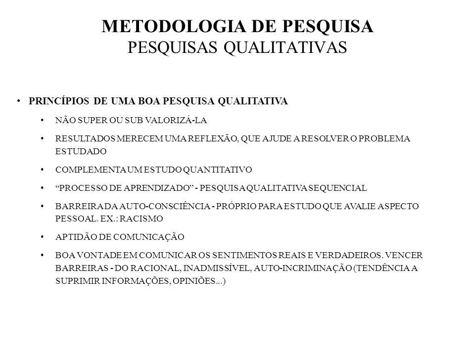 METODOLOGIA DE PESQUISA PESQUISAS QUALITATIVAS TÉCNICAS ENTREVISTAS EM PROFUNDIDADE FOCUS GROUPS OU DISCUSSÃO EM GRUPO CASE STUDY OU ESTUDO DE CASO CARACTERIZAR POR QUÊ (DECISÃO TOMADA) E COMO (DE QUE FORMA ACONTECEU) TÉCNICA DELPHI OBTER UM SENSO VIÁVEL.
