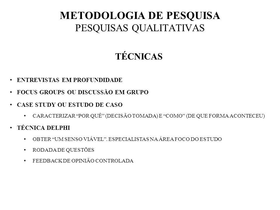 METODOLOGIA DE PESQUISA PESQUISAS QUALITATIVAS TÉCNICAS ENTREVISTAS EM PROFUNDIDADE FOCUS GROUPS OU DISCUSSÃO EM GRUPO CASE STUDY OU ESTUDO DE CASO CA