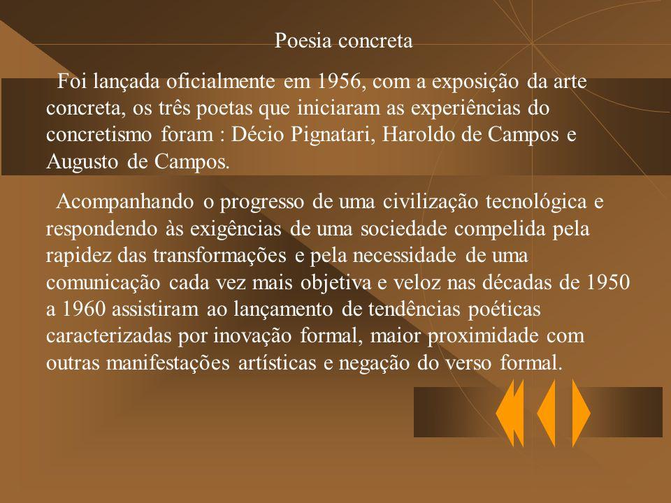 Poesia concreta Foi lançada oficialmente em 1956, com a exposição da arte concreta, os três poetas que iniciaram as experiências do concretismo foram : Décio Pignatari, Haroldo de Campos e Augusto de Campos.