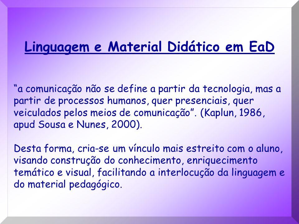 Linguagem e Material Didático em EaD a comunicação não se define a partir da tecnologia, mas a partir de processos humanos, quer presenciais, quer vei