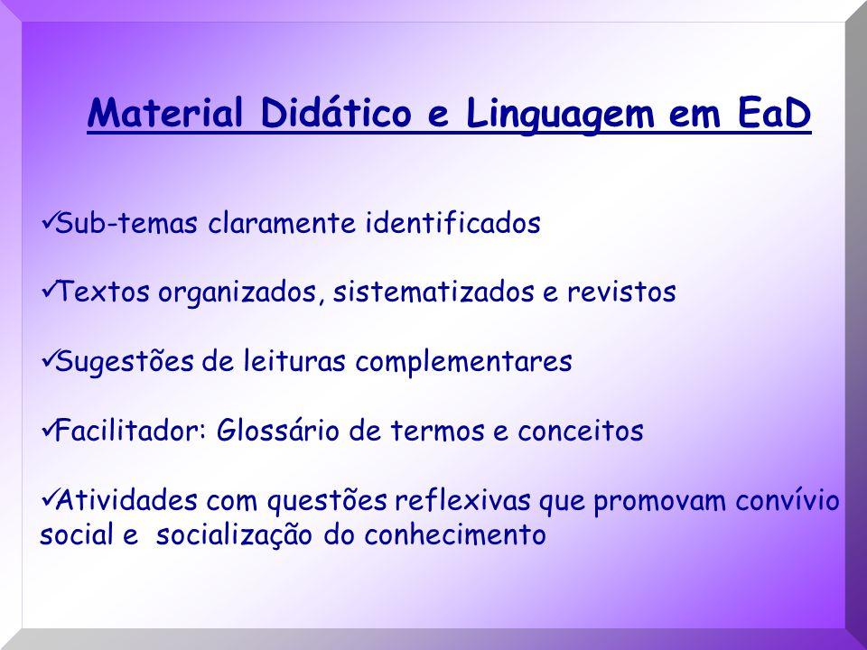 Material Didático e Linguagem em EaD Sub-temas claramente identificados Textos organizados, sistematizados e revistos Sugestões de leituras complement