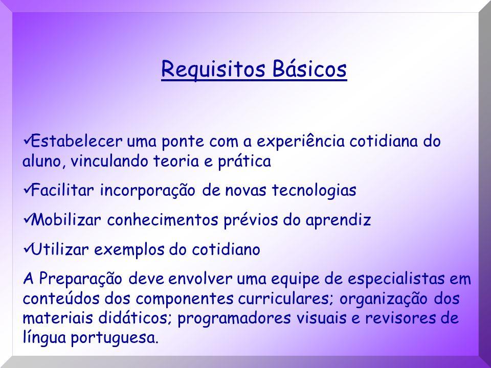Requisitos Básicos Estabelecer uma ponte com a experiência cotidiana do aluno, vinculando teoria e prática Facilitar incorporação de novas tecnologias