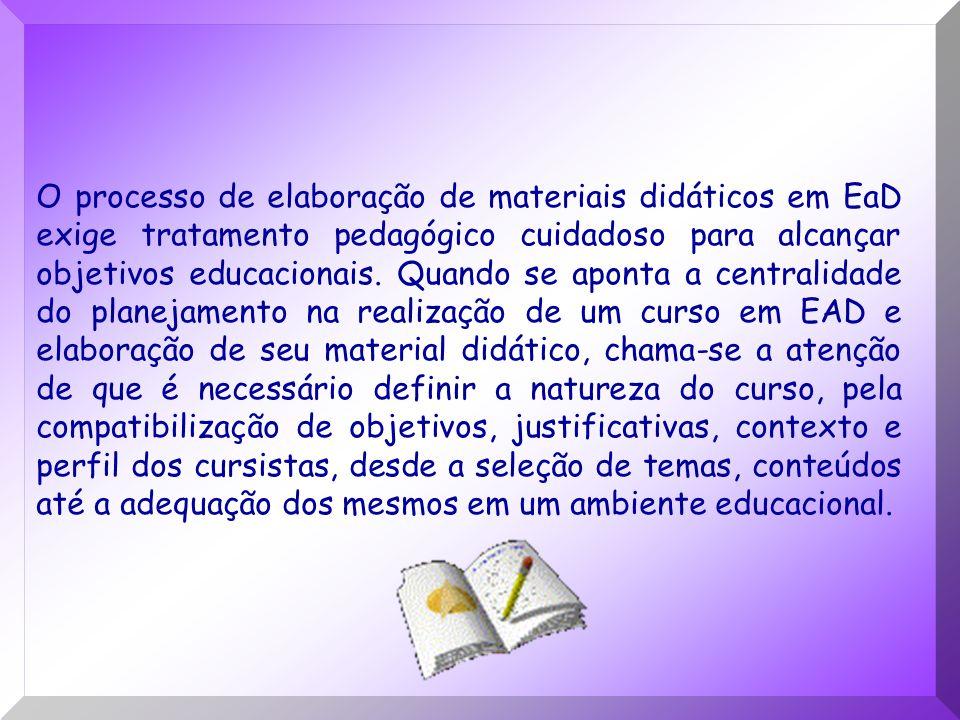 O processo de elaboração de materiais didáticos em EaD exige tratamento pedagógico cuidadoso para alcançar objetivos educacionais. Quando se aponta a