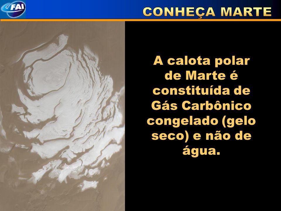 A calota polar de Marte é constituída de Gás Carbônico congelado (gelo seco) e não de água.