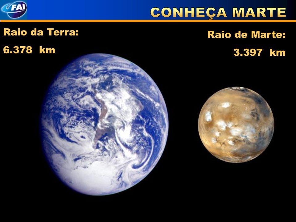 Raio da Terra: 6.378 km Raio de Marte: 3.397 km
