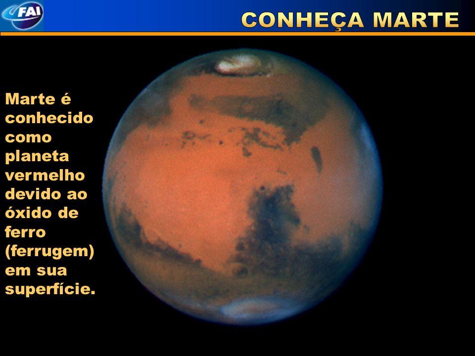 Marte é conhecido como planeta vermelho devido ao óxido de ferro (ferrugem) em sua superfície.