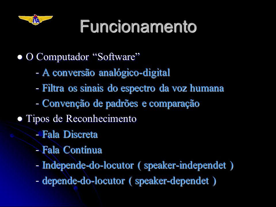 Funcionamento O Computador Software O Computador Software - A conversão analógico-digital - Filtra os sinais do espectro da voz humana - Convenção de