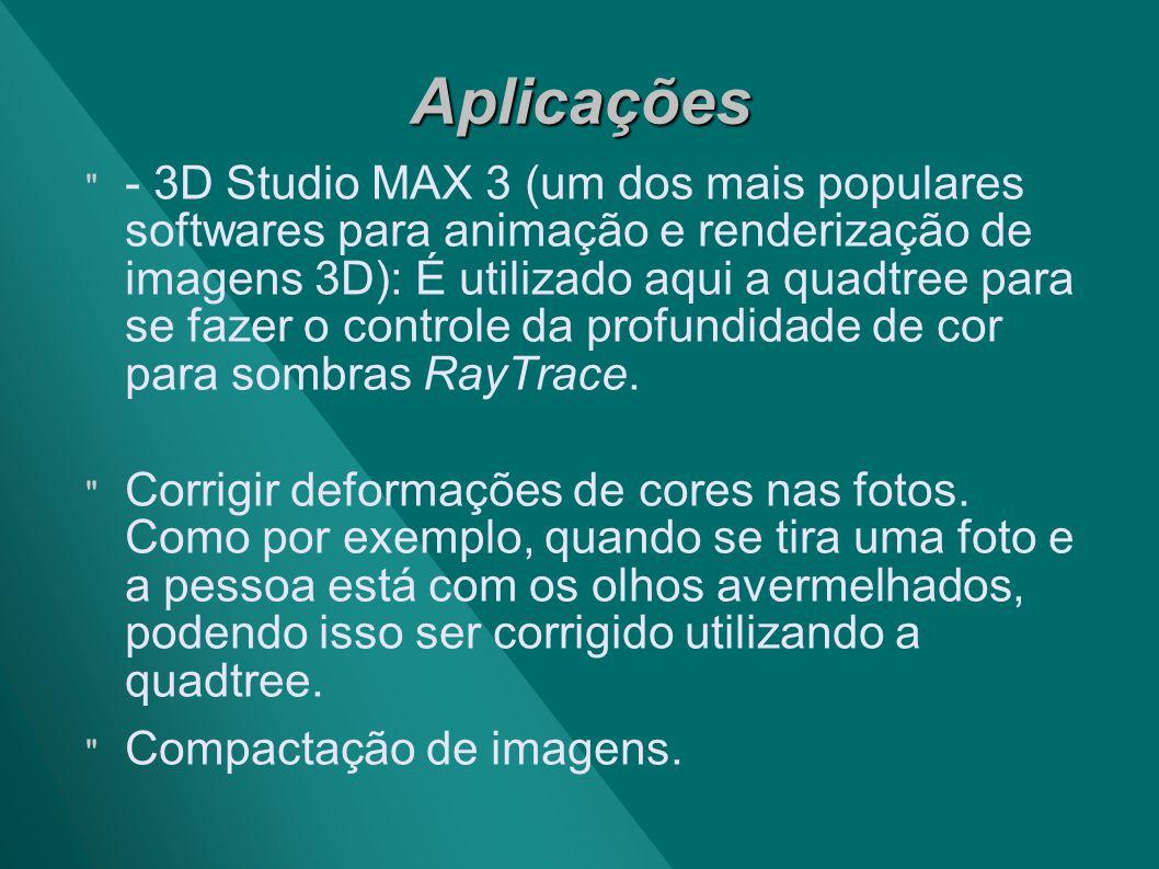 Aplicações - 3D Studio MAX 3 (um dos mais populares softwares para animação e renderização de imagens 3D): É utilizado aqui a quadtree para se fazer o