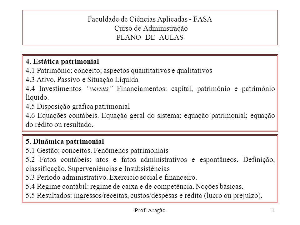 Prof. Aragão1 5. Dinâmica patrimonial 5.1 Gestão: conceitos. Fenômenos patrimoniais 5.2 Fatos contábeis: atos e fatos administrativos e espontâneos. D