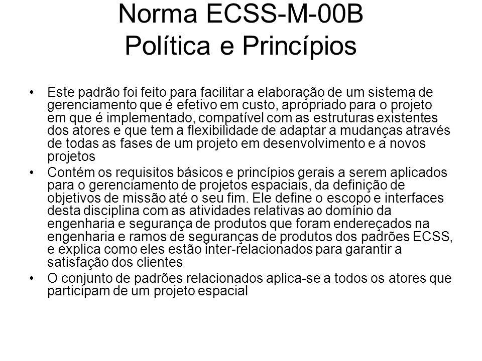 Norma ECSS-M-00B Política e Princípios Este padrão foi feito para facilitar a elaboração de um sistema de gerenciamento que é efetivo em custo, apropr
