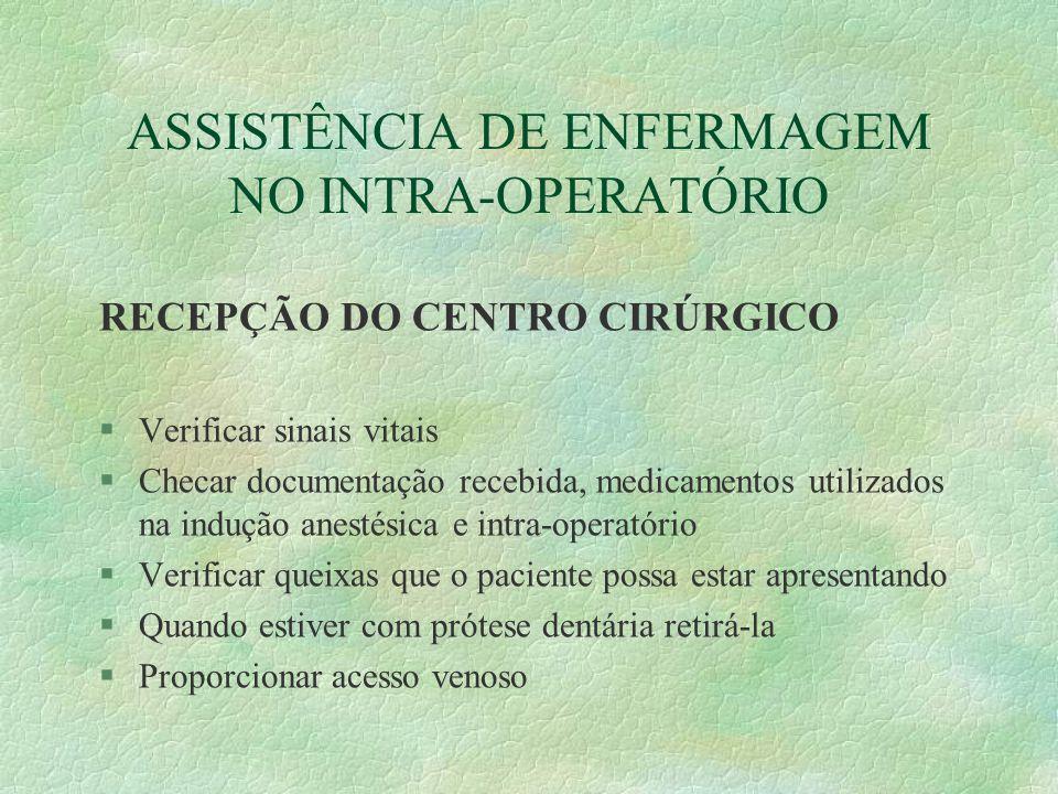 RECEPÇÃO DO CENTRO CIRÚRGICO §Verificar sinais vitais §Checar documentação recebida, medicamentos utilizados na indução anestésica e intra-operatório