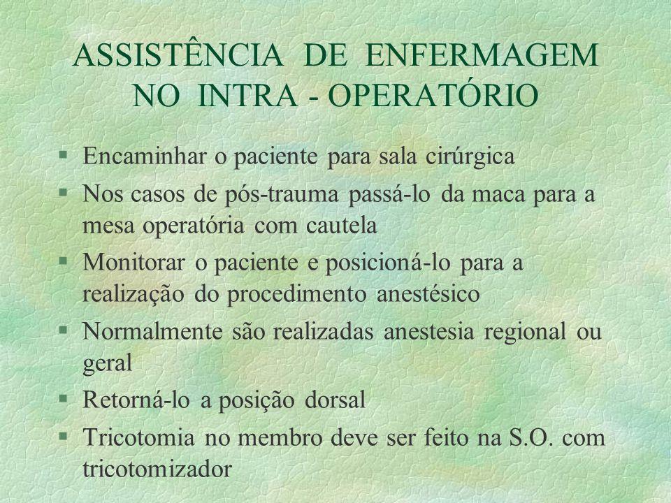 ASSISTÊNCIA DE ENFERMAGEM NO INTRA - OPERATÓRIO §Encaminhar o paciente para sala cirúrgica §Nos casos de pós-trauma passá-lo da maca para a mesa opera