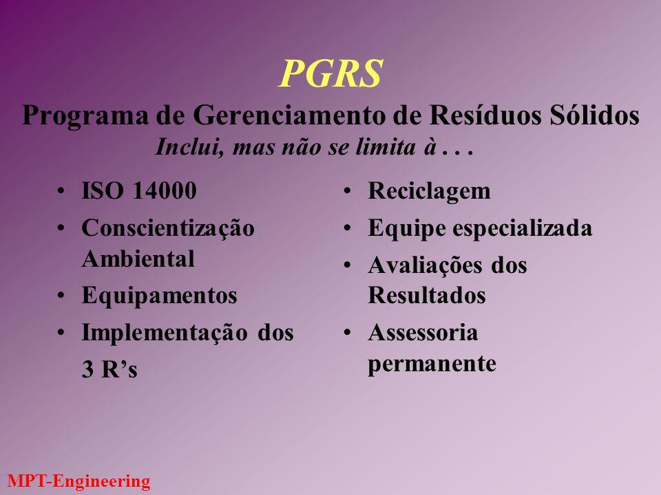 MPT-Engineering PGRS Programa de Gerenciamento de Resíduos Sólidos ISO 14000 Conscientização Ambiental Equipamentos Implementação dos 3 Rs Reciclagem Equipe especializada Avaliações dos Resultados Assessoria permanente Inclui, mas não se limita à...