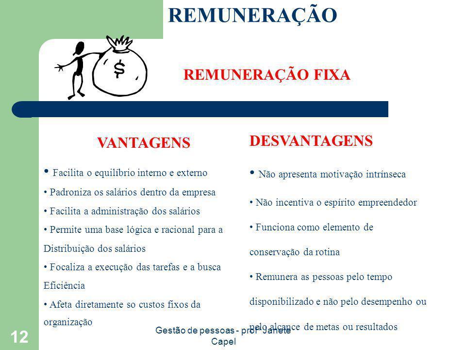 Gestão de pessoas - profª Janete Capel 12 REMUNERAÇÃO REMUNERAÇÃO FIXA VANTAGENS Facilita o equilíbrio interno e externo Padroniza os salários dentro