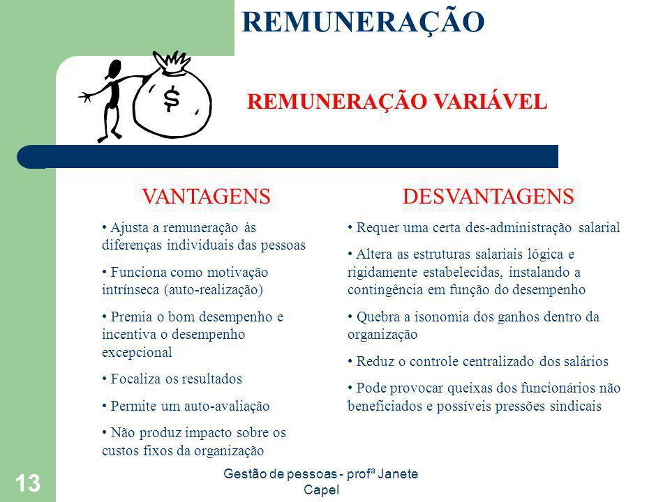 Gestão de pessoas - profª Janete Capel 13 REMUNERAÇÃO REMUNERAÇÃO VARIÁVEL VANTAGENS Ajusta a remuneração às diferenças individuais das pessoas Funcio