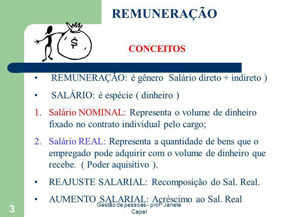 Gestão de pessoas - profª Janete Capel 3 REMUNERAÇÃO CONCEITOS REMUNERAÇÃO: é gênero Salário direto + indireto ) SALÁRIO: é espécie ( dinheiro ) 1.Sal