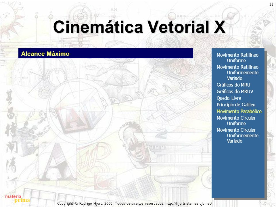 matéria prima Copyright © Rodrigo Hjort, 2000. Todos os direitos reservados. http://hjortsistemas.cjb.net/ 11 Cinemática Vetorial X Movimento Retilíne