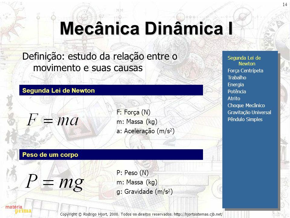 matéria prima Copyright © Rodrigo Hjort, 2000. Todos os direitos reservados. http://hjortsistemas.cjb.net/ 14 Mecânica Dinâmica I Definição: estudo da