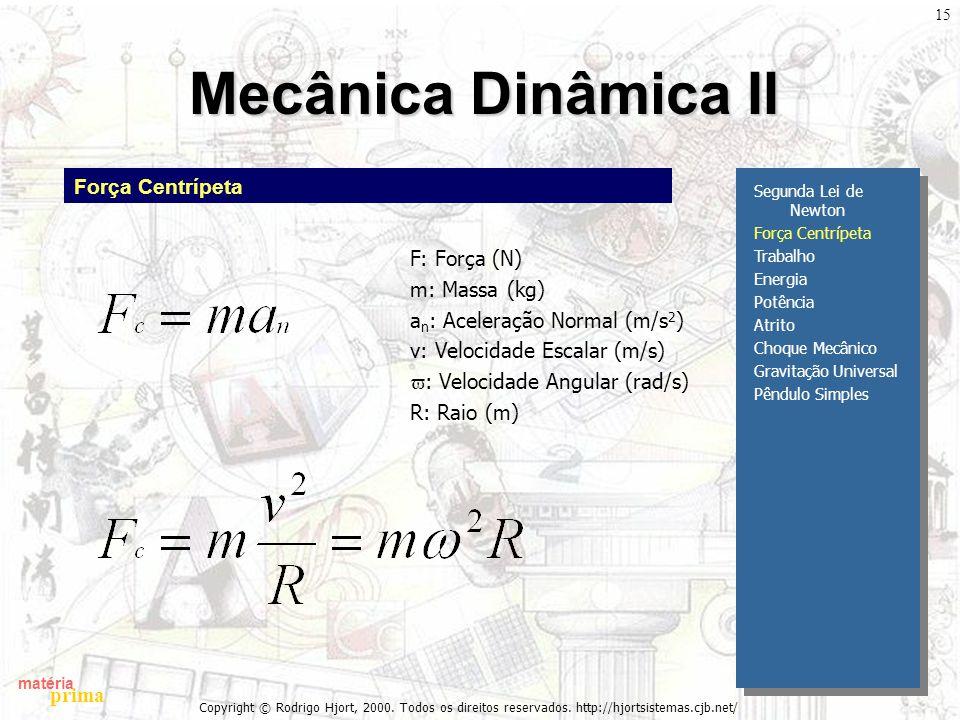 matéria prima Copyright © Rodrigo Hjort, 2000. Todos os direitos reservados. http://hjortsistemas.cjb.net/ 15 Mecânica Dinâmica II Segunda Lei de Newt