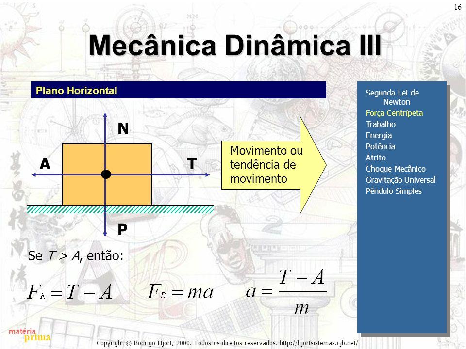 matéria prima Copyright © Rodrigo Hjort, 2000. Todos os direitos reservados. http://hjortsistemas.cjb.net/ 16 Mecânica Dinâmica III Segunda Lei de New