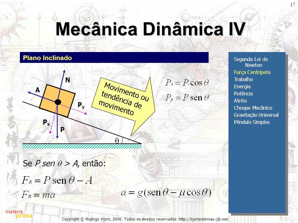 matéria prima Copyright © Rodrigo Hjort, 2000. Todos os direitos reservados. http://hjortsistemas.cjb.net/ 17 Mecânica Dinâmica IV Segunda Lei de Newt