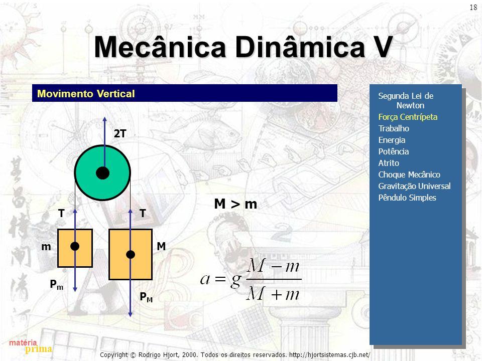matéria prima Copyright © Rodrigo Hjort, 2000. Todos os direitos reservados. http://hjortsistemas.cjb.net/ 18 Mecânica Dinâmica V Segunda Lei de Newto