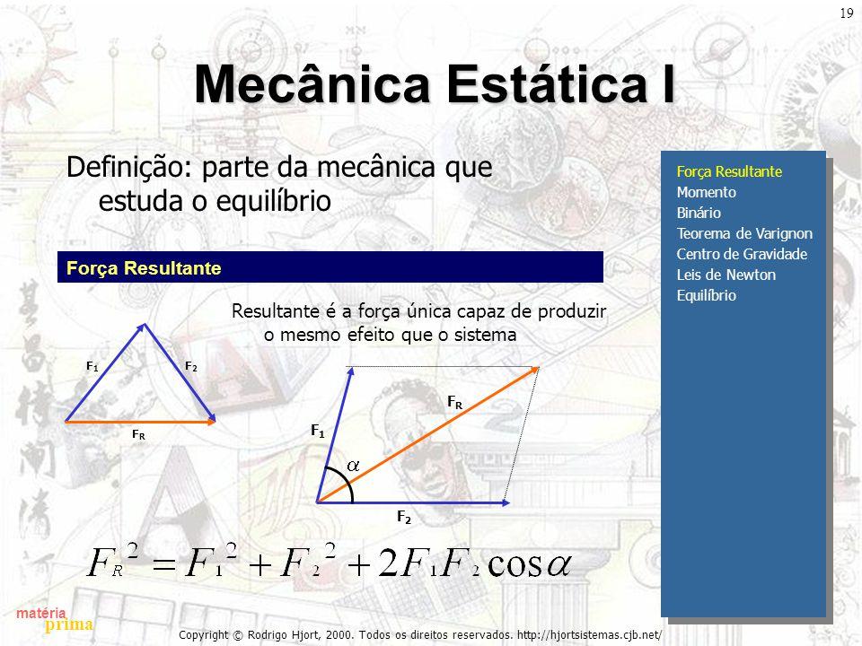 matéria prima Copyright © Rodrigo Hjort, 2000. Todos os direitos reservados. http://hjortsistemas.cjb.net/ 19 Mecânica Estática I Definição: parte da