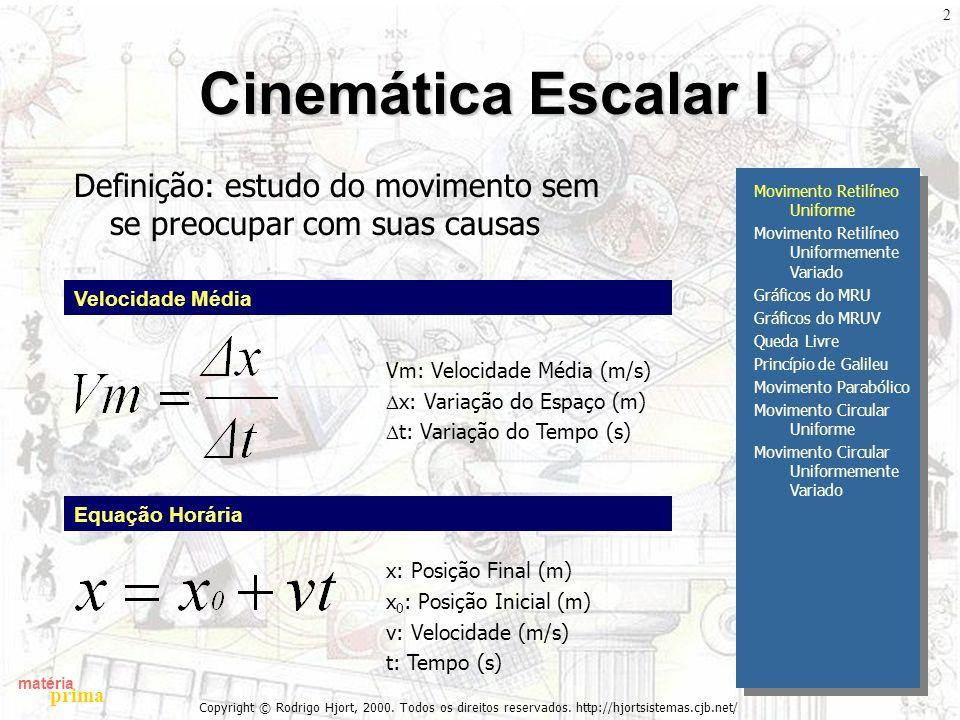 matéria prima Copyright © Rodrigo Hjort, 2000. Todos os direitos reservados. http://hjortsistemas.cjb.net/ 2 Cinemática Escalar I Definição: estudo do