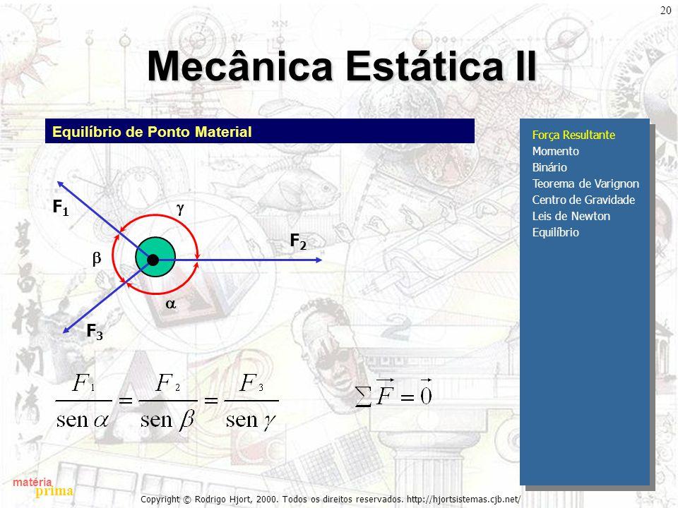 matéria prima Copyright © Rodrigo Hjort, 2000. Todos os direitos reservados. http://hjortsistemas.cjb.net/ 20 Mecânica Estática II Força Resultante Mo