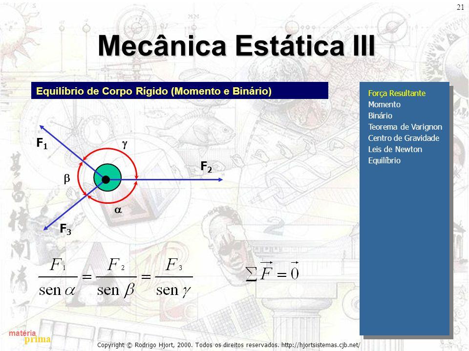 matéria prima Copyright © Rodrigo Hjort, 2000. Todos os direitos reservados. http://hjortsistemas.cjb.net/ 21 Mecânica Estática III Força Resultante M