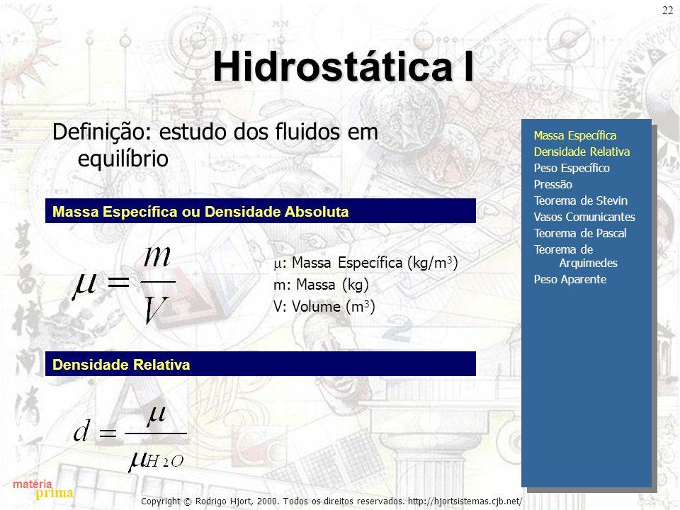 matéria prima Copyright © Rodrigo Hjort, 2000. Todos os direitos reservados. http://hjortsistemas.cjb.net/ 22 Hidrostática I Definição: estudo dos flu