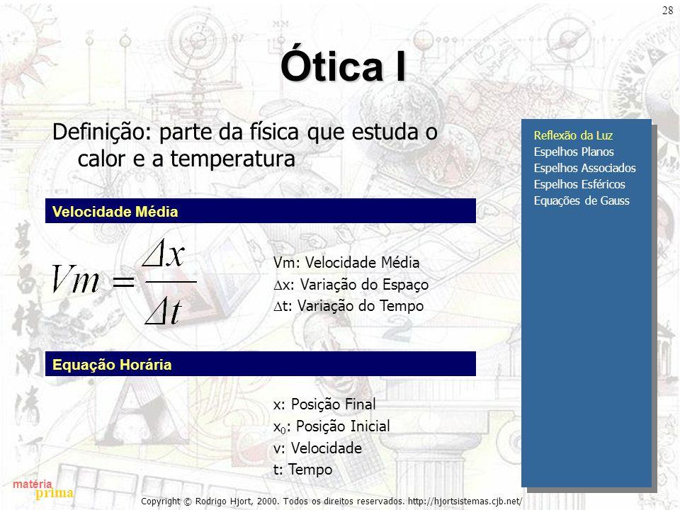 matéria prima Copyright © Rodrigo Hjort, 2000. Todos os direitos reservados. http://hjortsistemas.cjb.net/ 28 Ótica I Definição: parte da física que e