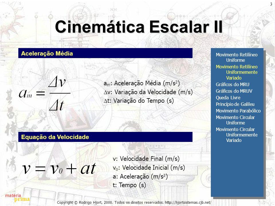 matéria prima Copyright © Rodrigo Hjort, 2000. Todos os direitos reservados. http://hjortsistemas.cjb.net/ 3 Cinemática Escalar II Movimento Retilíneo