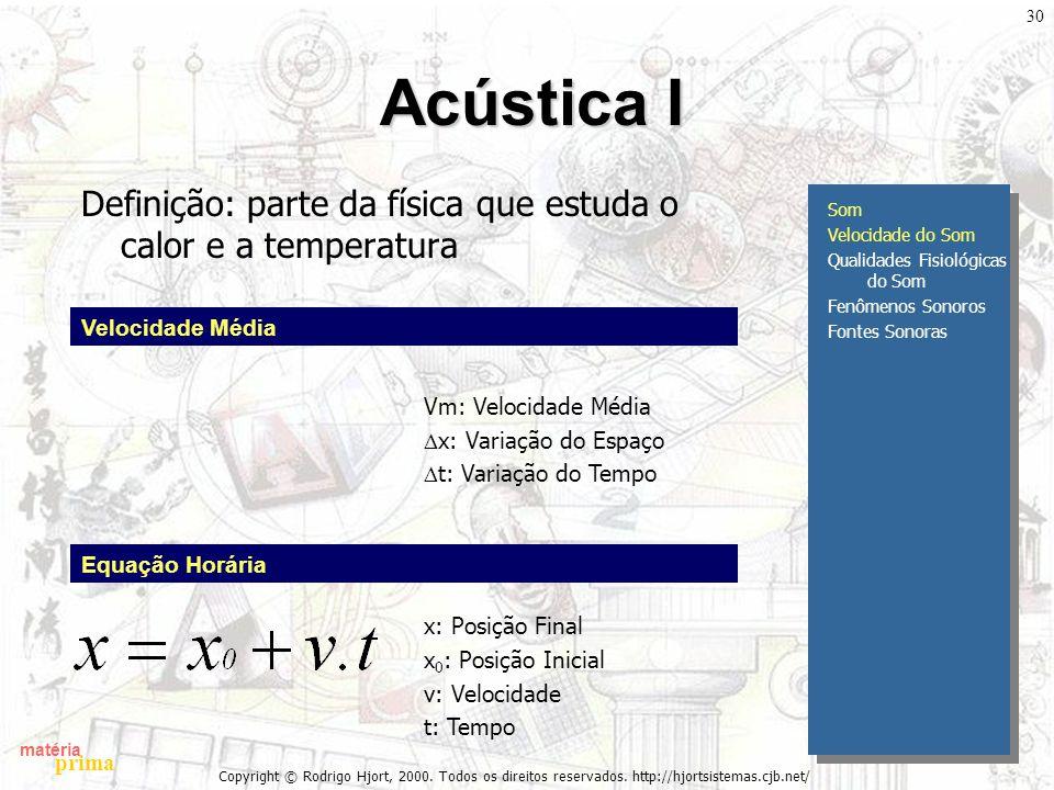 matéria prima Copyright © Rodrigo Hjort, 2000. Todos os direitos reservados. http://hjortsistemas.cjb.net/ 30 Acústica I Definição: parte da física qu