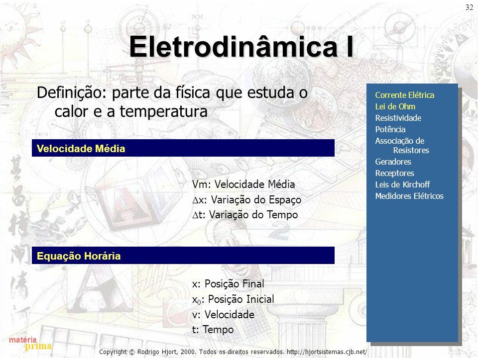 matéria prima Copyright © Rodrigo Hjort, 2000. Todos os direitos reservados. http://hjortsistemas.cjb.net/ 32 Eletrodinâmica I Definição: parte da fís