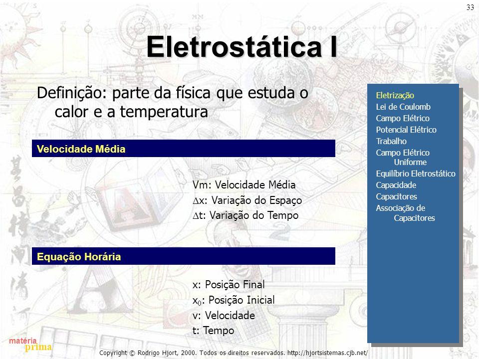 matéria prima Copyright © Rodrigo Hjort, 2000. Todos os direitos reservados. http://hjortsistemas.cjb.net/ 33 Eletrostática I Definição: parte da físi
