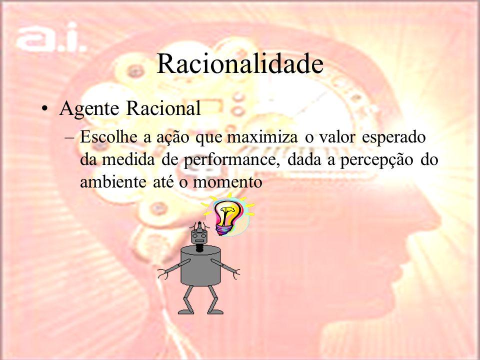 Racionalidade Agente Racional –Escolhe a ação que maximiza o valor esperado da medida de performance, dada a percepção do ambiente até o momento