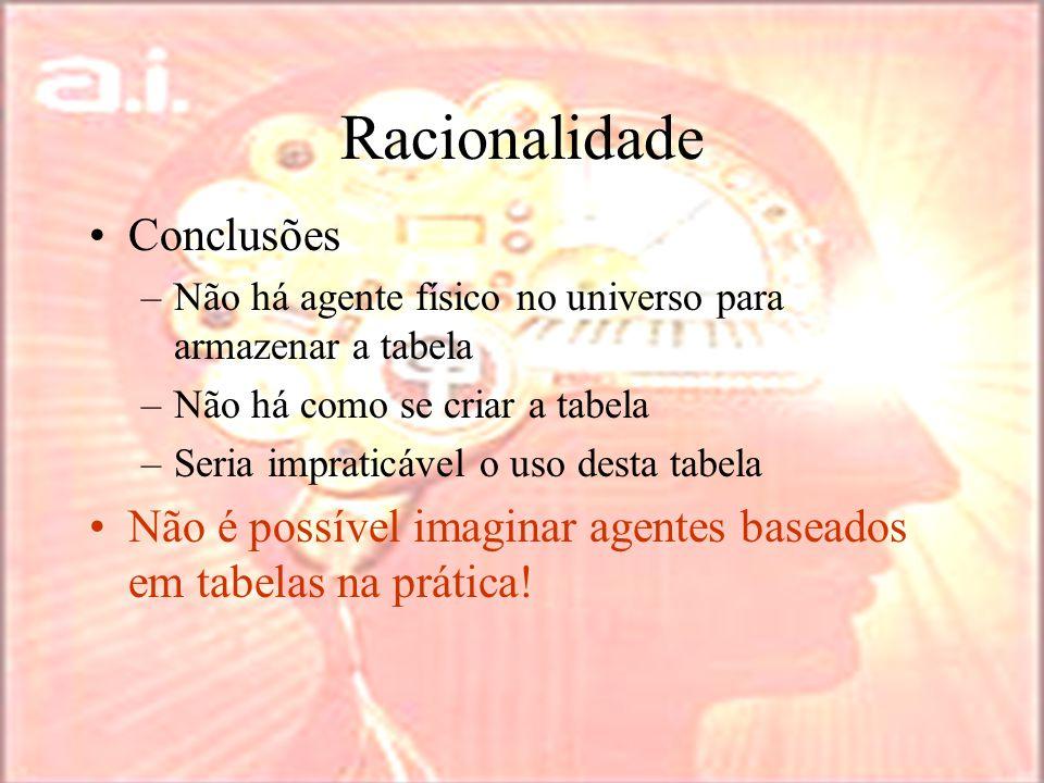 Racionalidade Conclusões –Não há agente físico no universo para armazenar a tabela –Não há como se criar a tabela –Seria impraticável o uso desta tabela Não é possível imaginar agentes baseados em tabelas na prática!