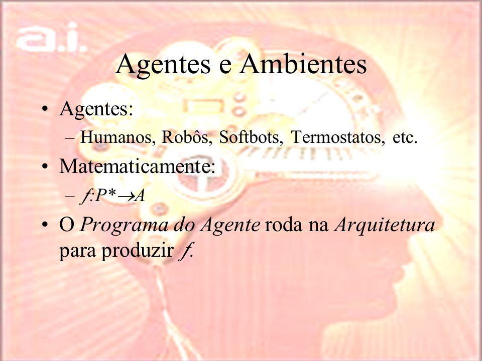 Agentes e Ambientes Agentes: –Humanos, Robôs, Softbots, Termostatos, etc.