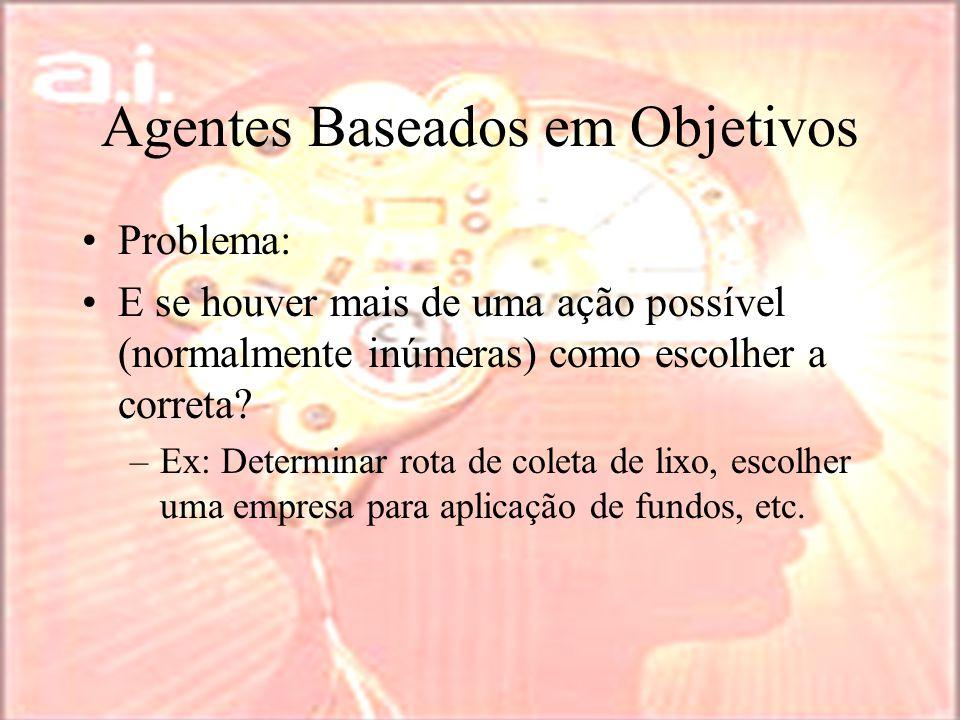 Agentes Baseados em Objetivos Problema: E se houver mais de uma ação possível (normalmente inúmeras) como escolher a correta.