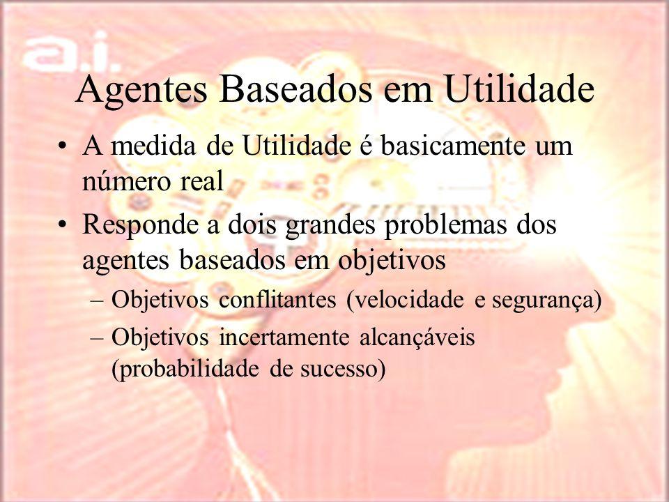 Agentes Baseados em Utilidade A medida de Utilidade é basicamente um número real Responde a dois grandes problemas dos agentes baseados em objetivos –Objetivos conflitantes (velocidade e segurança) –Objetivos incertamente alcançáveis (probabilidade de sucesso)