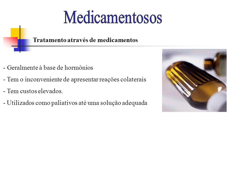 - Geralmente à base de hormônios - Tem o inconveniente de apresentar reações colaterais - Tem custos elevados. - Utilizados como paliativos até uma so