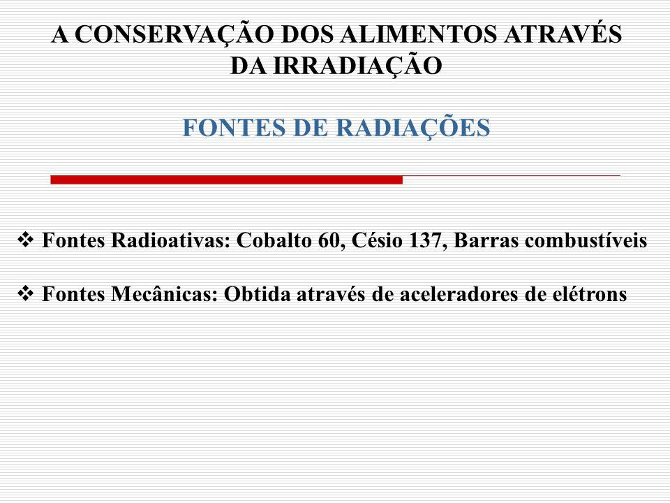 A CONSERVAÇÃO DOS ALIMENTOS ATRAVÉS DA IRRADIAÇÃO FONTES DE RADIAÇÕES Fontes Radioativas: Cobalto 60, Césio 137, Barras combustíveis Fontes Mecânicas: