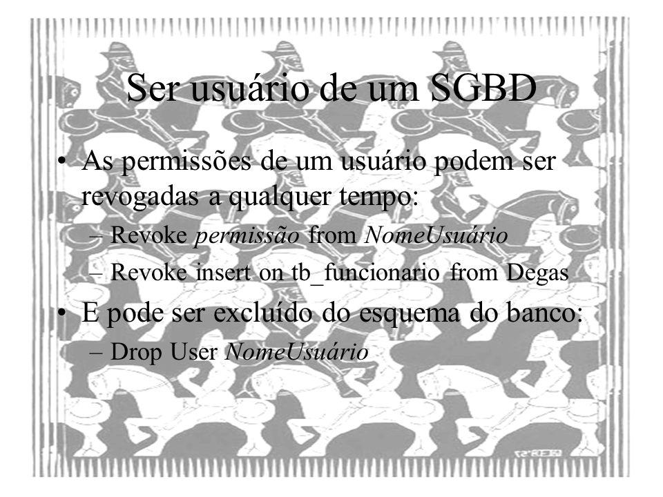 Ser usuário de um SGBD As permissões de um usuário podem ser revogadas a qualquer tempo: –Revoke permissão from NomeUsuário –Revoke insert on tb_funci