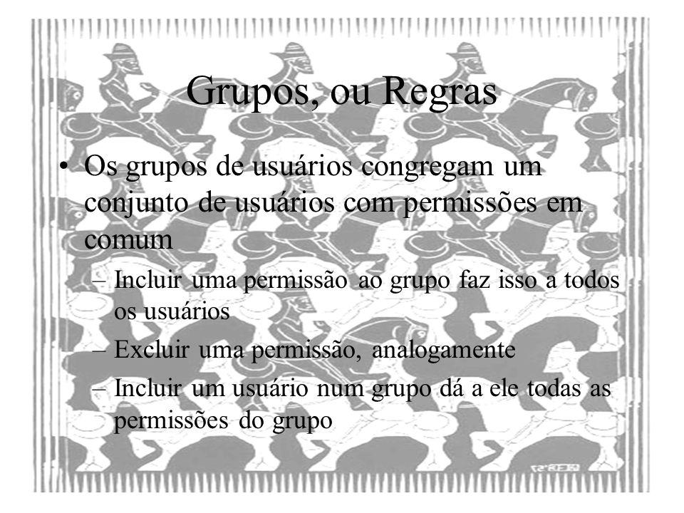 Grupos, ou Regras Os grupos de usuários congregam um conjunto de usuários com permissões em comum –Incluir uma permissão ao grupo faz isso a todos os