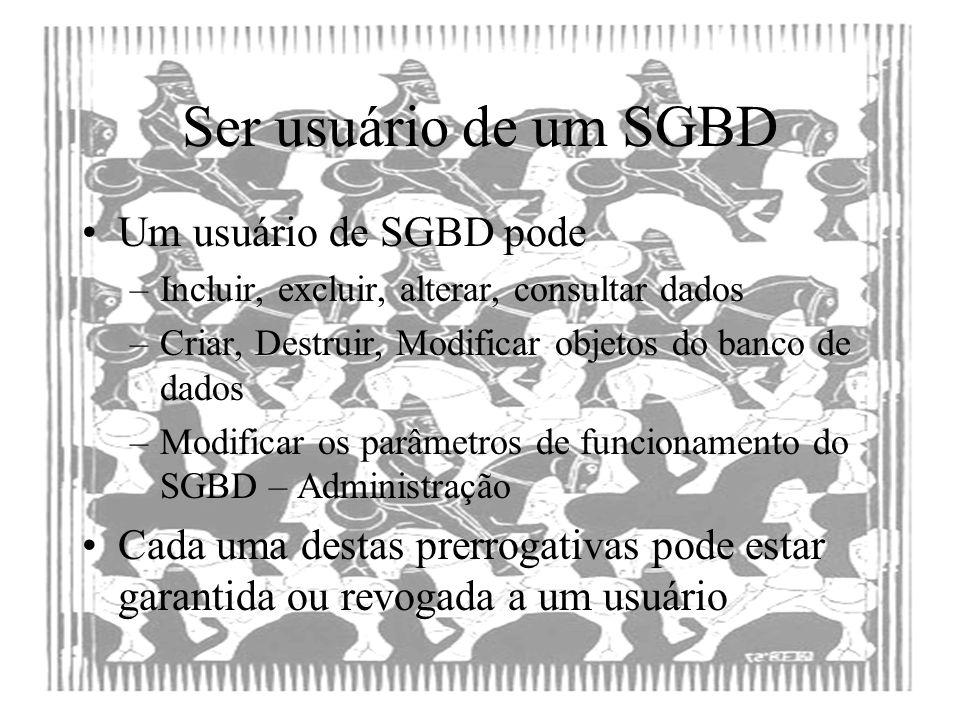 Ser usuário de um SGBD Um usuário de SGBD pode –Incluir, excluir, alterar, consultar dados –Criar, Destruir, Modificar objetos do banco de dados –Modi